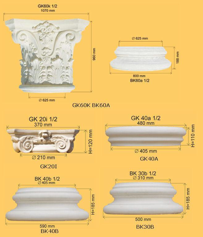Kolumny - bazy kolumn, głowice kolumn